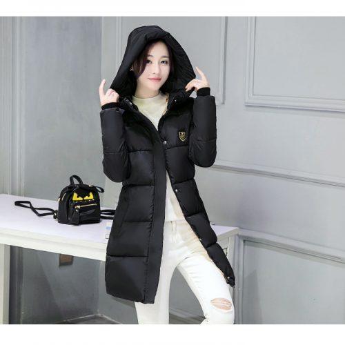 Женская демисезонная осенняя зимняя длинная утепленная куртка-пальто на молнии с капюшоном и высоким воротником