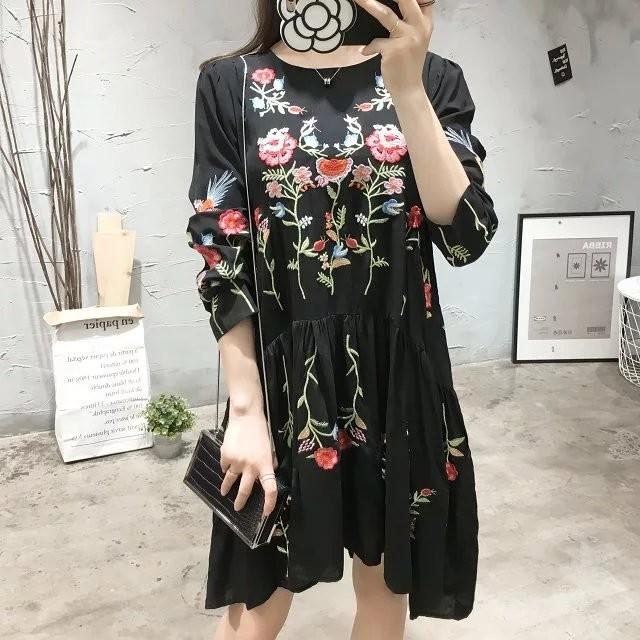 9aa9f0b7a1ac9f ... Черное платье выше колена с цветочной вышивкой и длинным рукавом  (реплика Зара/Zara) ...
