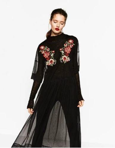 Черное прозрачное платье-сетка из тюля с цветочной вышивкой до щиколотки (реплика Зара/Zara)