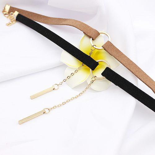 Бархатный черный и коричневый чокер украшение ожерелье на шею с короткой цепочкой