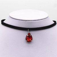 Бархатный черный тонкий чокер украшение на шею с подвеской камнем-кристаллом