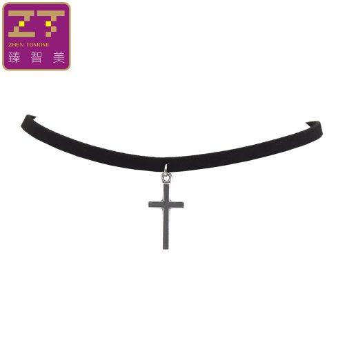 Бархатный черный тонкий чокер украшение на шею с подвеской крестом