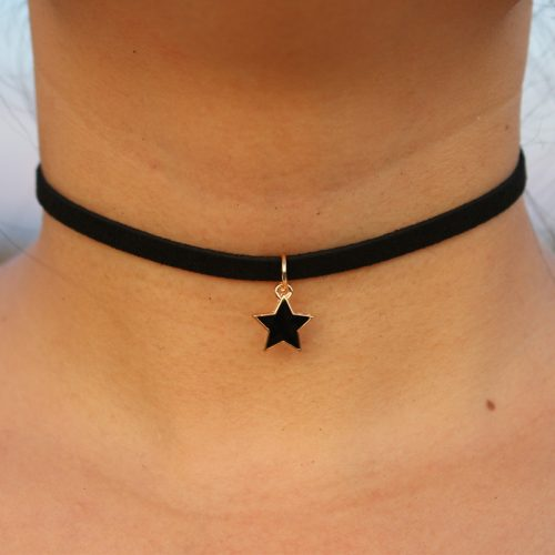 Бархатный черный тонкий чокер украшение на шею с подвеской звездой