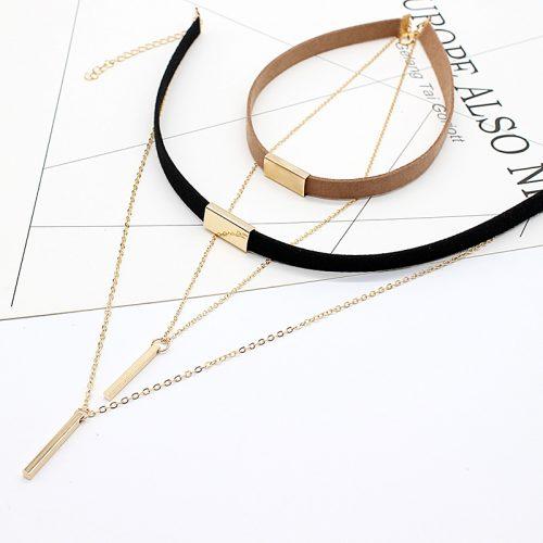 Двойной бархатный чокер украшение ожерелье на шею с длинной цепочкой