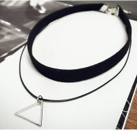 Двойной черный чокер украшение ожерелье на шею с подвеской треугольником