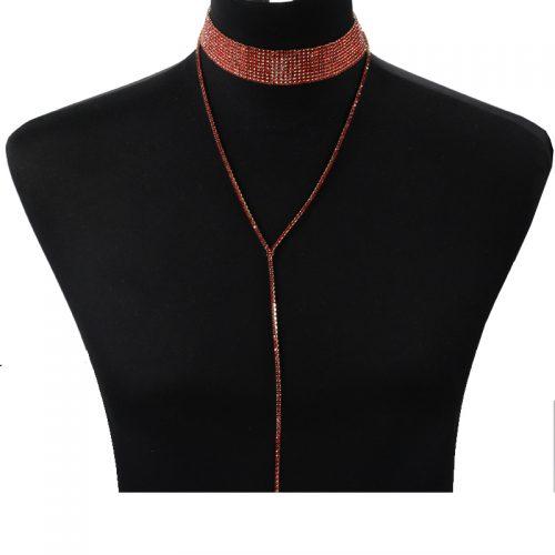 Двойной чокер-колье украшение на шею с цепочкой и стразами-камнями