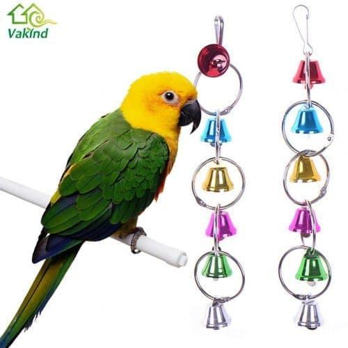 Игрушка с колокольчиками для попугая в клетку