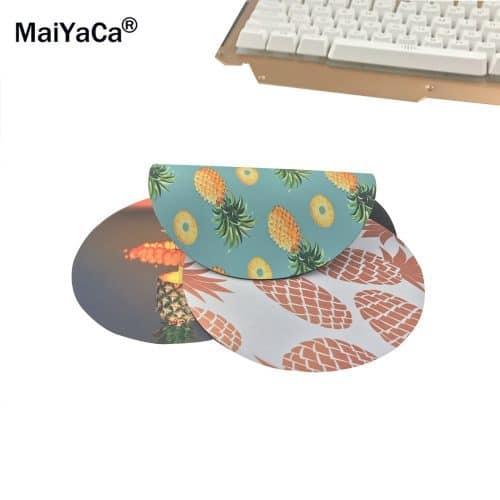 Круглый коврик для компьютерной мыши с изображением ананасов