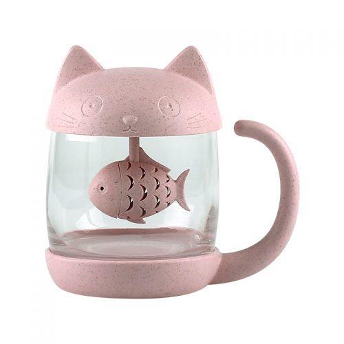 Кружка чашка в виде кота с заварником рыбкой