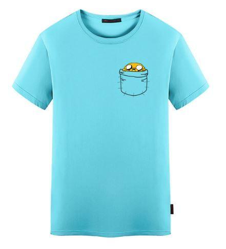 Мужская и женская хлопковая футболка с Джейком в кармане из Время приключений (Adventure Time)