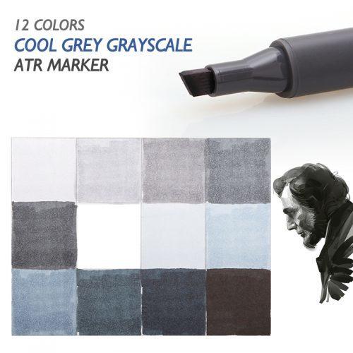 Набор маркеров серых оттенков 12 шт.