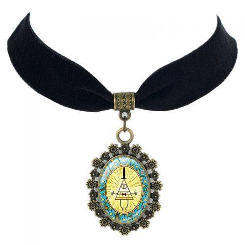 Ожерелье бархатный чокер с кулоном Билл Шифр желтый треугольник из Гравити Фолз (Gravity Falls)