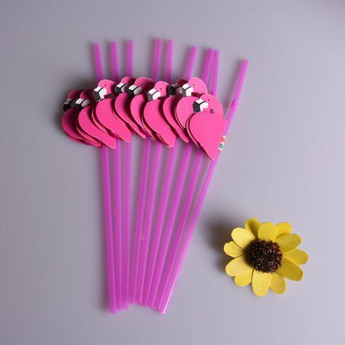 Розовые трубочки для напитков Фламинго 25 шт.