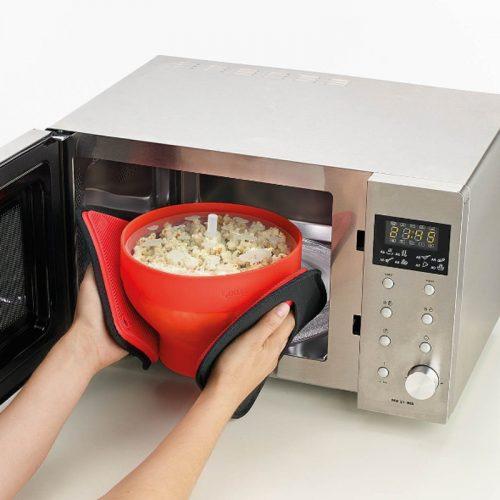 Силиконовая миска с крышкой для приготовления попкорна в микроволновке