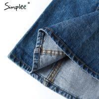 Женская синяя джинсовая мини юбка на пуговицах с цветочной вышивкой