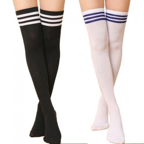 Женские белые и черные гольфы выше колена с полосками