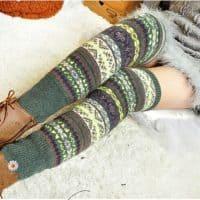 Женские теплые вязаные гетры на ноги