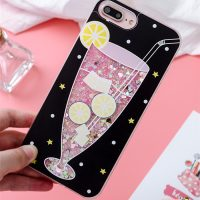 Женский чехол бампер задняя крышка для айфон (iPhone) 6,7 с розовыми жидкими блестками и изображением напитков