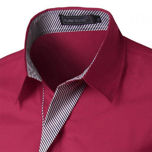 Мужская однотонная классическая приталенная рубашка с длинными рукавами