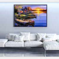 Дешевая алмазная вышивка (мозаика) картина стразами Пейзаж, закат, дом, озеро в наборе