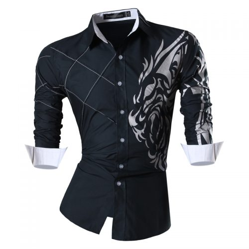 Мужская приталенная рубашка с длинными рукавами и рисунком