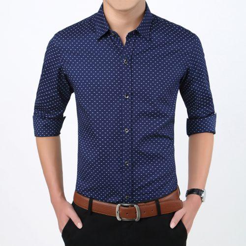 Мужская приталенная повседневная рубашка в мелкий рисунок с длинными рукавами