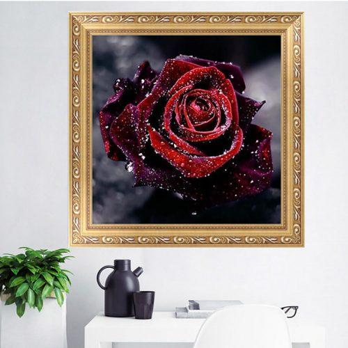 Дешевая алмазная вышивка (мозаика) картина стразами Роза в наборе