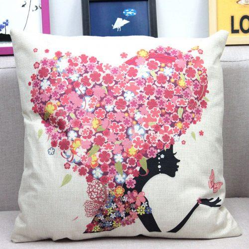 Декоративные льняные яркие наволочки на подушки 45х45 см с изображением цветов, девушки и бабочек