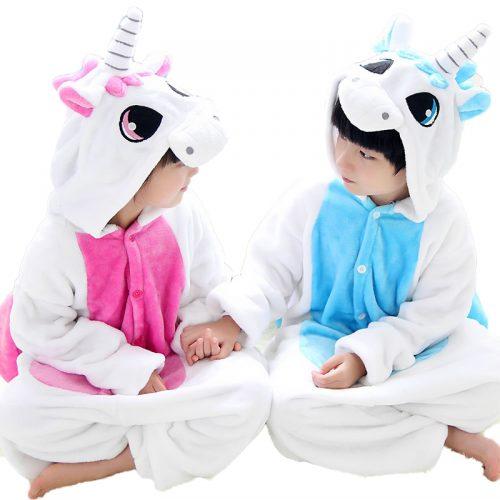 Детские фланелевые пижамы кигуруми костюмы животных для девочек и мальчиков