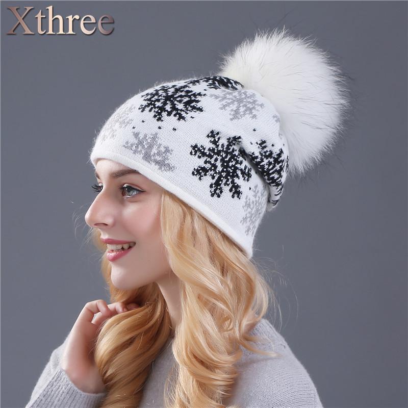 купить женская вязаная зимняя шерстяная шапка с меховым помпоном