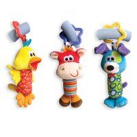 Подвесные мягкие плюшевые разноцветные игрушки-погремушки на коляску или кроватку Собачка, утка или жираф