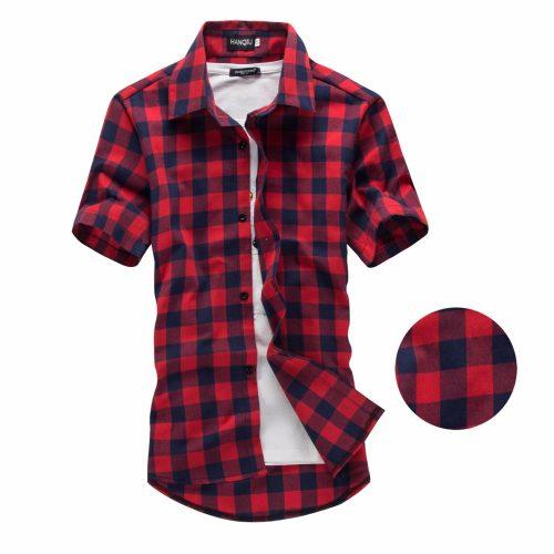 Мужская рубашка шотландка в клетку с короткими рукавами