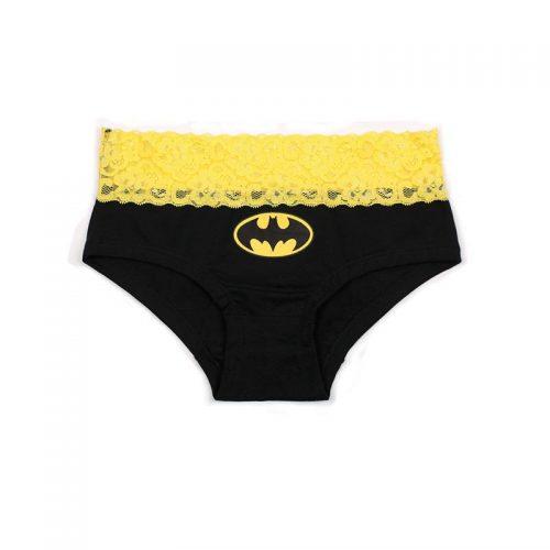Женские хлопковые трусы с кружевом и символикой супергероев (Batman, Superman)