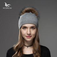 Женская трикотажная шерстяная шапка с меховым помпоном