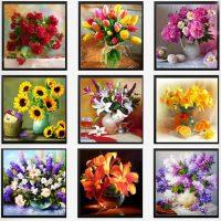 Дешевая алмазная вышивка (мозаика) картина стразами Цветы в вазе в наборе