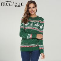 Женский зимний новогодний вязаный свитер с оленями (красный, черный, зеленый, серый)