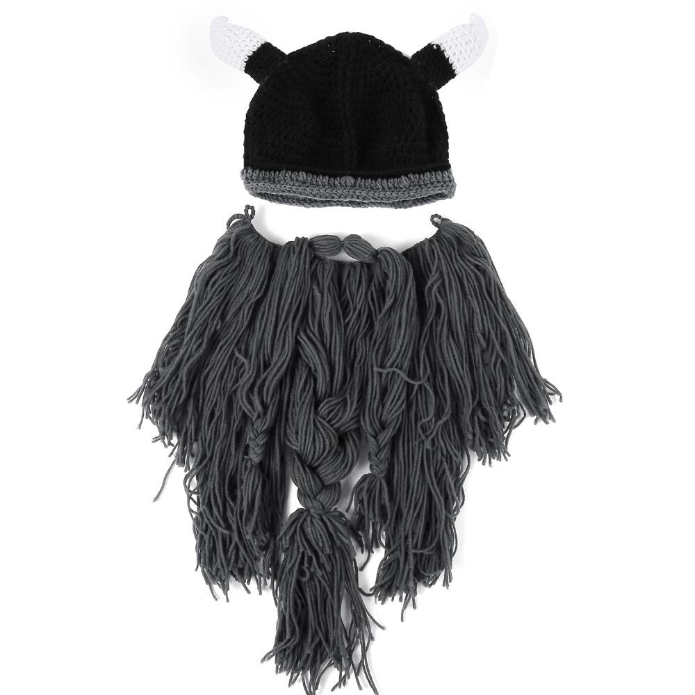 купить мужская вязаная шапка шлем викинга с рогами борода на