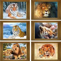 Дешевая алмазная вышивка (мозаика) картина стразами Львы и тигры в наборе