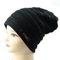 Женская мешковатая вязаная утепленная шапка с подкладкой