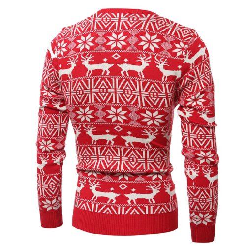 Мужской зимний новогодний свитер пуловер с оленями (красный, черный, синий)