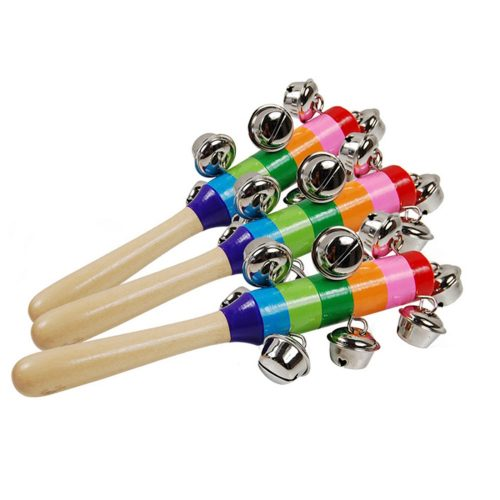 Детская музыкальная деревянная радужная игрушка погремушка маракас с колокольчиками
