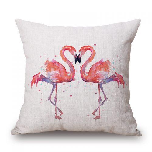 Декоративные льняные яркие наволочки на подушки 45х45 см с изображением фламинго