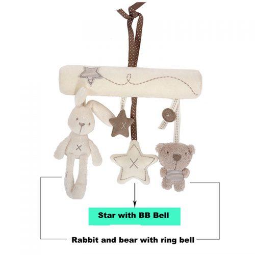 Подвесные мягкие плюшевые игрушки-погремушки на коляску или кроватку (кролик, медвежонок и звездочки)