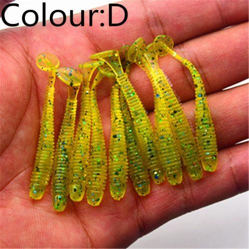 Искусственная мягкая силиконовая приманка виброхвост для рыбалки 5 см 0.7 г (в наборе 10 шт.)