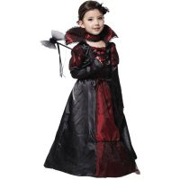 Детское черно-красное платье костюм вампирши для девочек