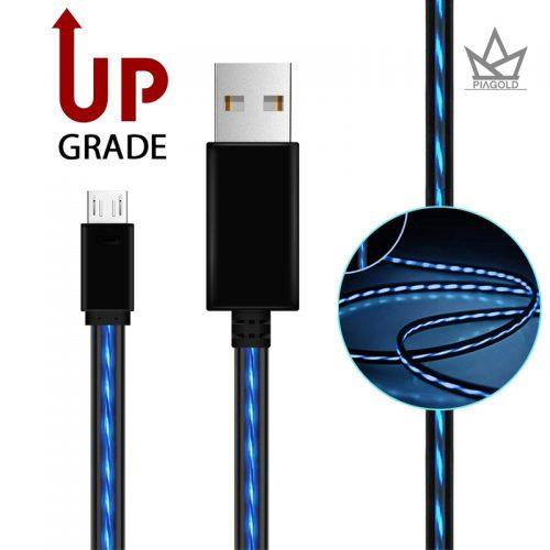 Белый и черный Micro USB кабель с подсветкой Бегущий ток
