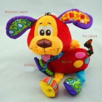 Подвесная мягкая плюшевая разноцветная игрушка-погремушка на коляску или кроватку Собачка