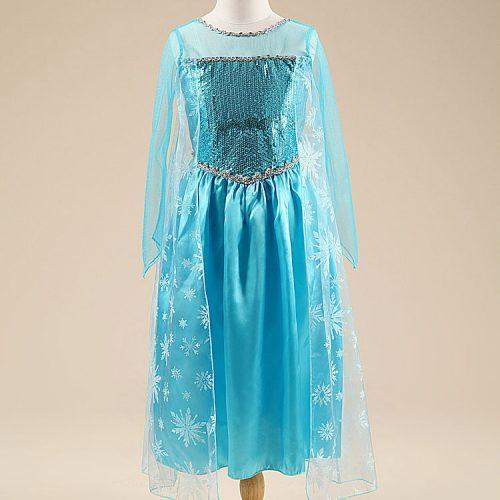 Детское голубое пышное платье Эльзы для девочек
