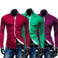 Мужская однотонная классическая приталенная рубашка с длинными рукавами (7 цветов)