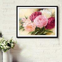 Дешевая алмазная вышивка (мозаика) картина стразами Пионы цветы в наборе